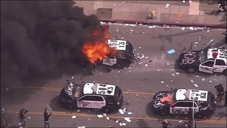 Burned Police car-Fire Booming- United Police Fund